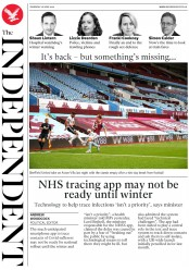 The Independent (UK) Newspaper Front Page for 18 June 2020