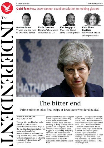 The Independent Newspaper Front Page (UK) for 18 July 2019