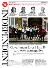The Independent (UK) Newspaper Front Page for 18 August 2020