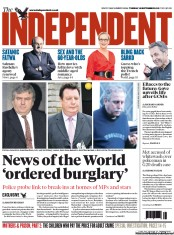 The Independent Newspaper Front Page (UK) for 18 September 2012