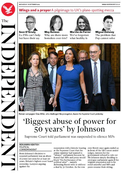 The Independent Newspaper Front Page (UK) for 18 September 2019