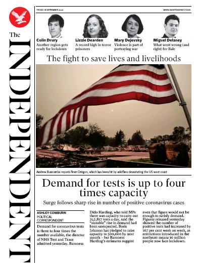 The Independent Newspaper Front Page (UK) for 18 September 2020