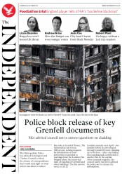 The Independent (UK) Newspaper Front Page for 19 October 2017
