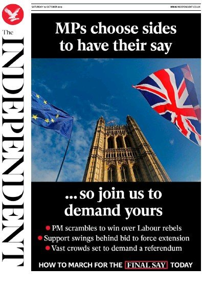 The Independent Newspaper Front Page (UK) for 19 October 2019