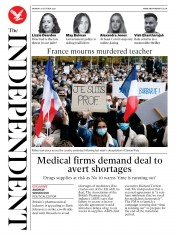 The Independent front page for 19 October 2020