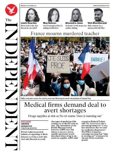 The Independent Newspaper Front Page (UK) for 19 October 2020