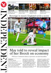 The Independent (UK) Newspaper Front Page for 19 November 2018