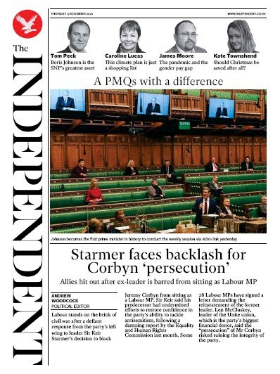 The Independent Newspaper Front Page (UK) for 19 November 2020