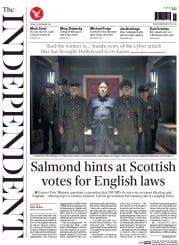 The Independent (UK) Newspaper Front Page for 19 December 2014