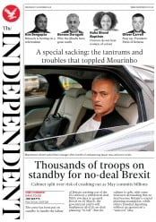The Independent (UK) Newspaper Front Page for 19 December 2018