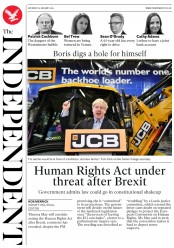 The Independent (UK) Newspaper Front Page for 19 January 2019