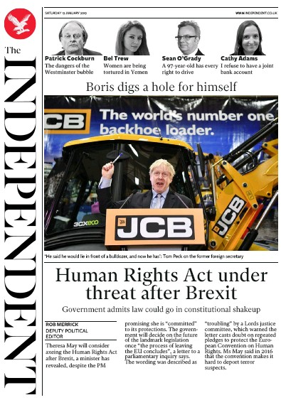 The Independent Newspaper Front Page (UK) for 19 January 2019