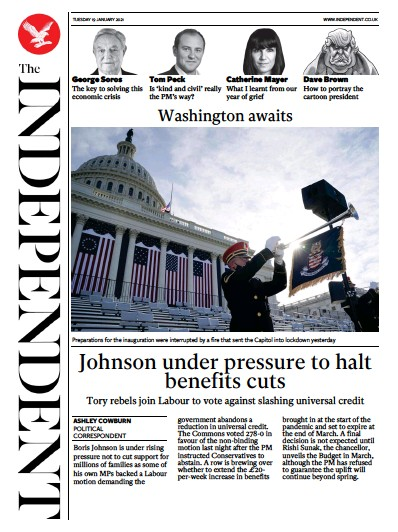 The Independent Newspaper Front Page (UK) for 19 January 2021
