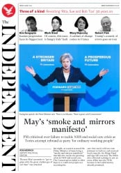 The Independent (UK) Newspaper Front Page for 19 May 2017