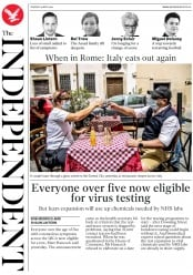 The Independent front page for 19 May 2020