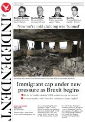 The Independent (UK) Newspaper Front Page for 19 June 2017