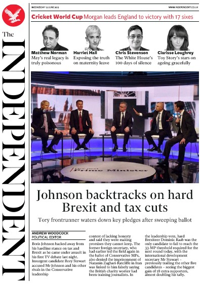 The Independent Newspaper Front Page (UK) for 19 June 2019