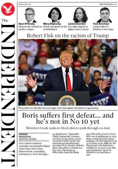 The Independent Newspaper Front Page (UK) for 19 July 2019
