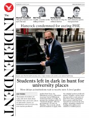 The Independent (UK) Newspaper Front Page for 19 August 2020