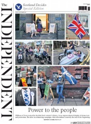 The Independent (UK) Newspaper Front Page for 19 September 2014