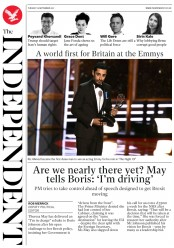 The Independent (UK) Newspaper Front Page for 19 September 2017