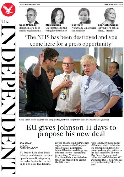 The Independent Newspaper Front Page (UK) for 19 September 2019