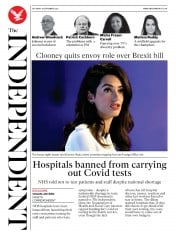 The Independent front page for 19 September 2020