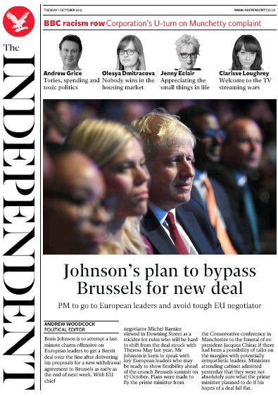 The Independent Newspaper Front Page (UK) for 1 October 2019