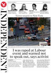 The Independent (UK) Newspaper Front Page for 1 November 2017