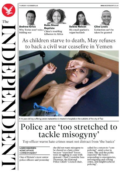 The Independent Newspaper Front Page (UK) for 1 November 2018