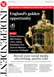 The Independent (UK) Newspaper Front Page for 1 November 2019