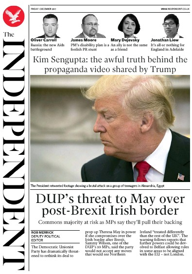 The Independent Newspaper Front Page (UK) for 1 December 2017