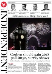 The Independent (UK) Newspaper Front Page for 1 January 2018