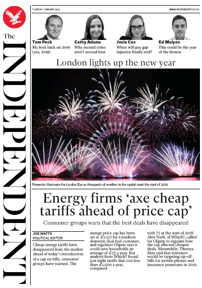 The Independent Newspaper Front Page (UK) for 1 January 2019