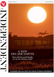 The Independent (UK) Newspaper Front Page for 1 January 2020