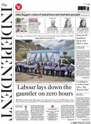 The Independent (UK) Newspaper Front Page for 1 April 2015
