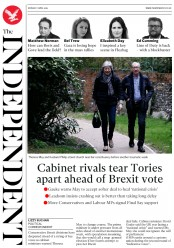 The Independent (UK) Newspaper Front Page for 1 April 2019
