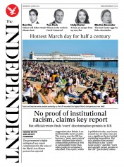 The Independent (UK) Newspaper Front Page for 1 April 2021