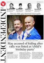 The Independent (UK) Newspaper Front Page for 1 May 2017