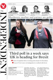 The Independent (UK) Newspaper Front Page for 1 June 2016