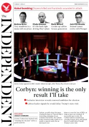 The Independent (UK) Newspaper Front Page for 1 June 2017