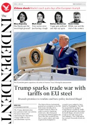The Independent (UK) Newspaper Front Page for 1 June 2018