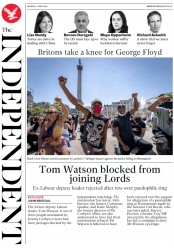 The Independent (UK) Newspaper Front Page for 1 June 2020