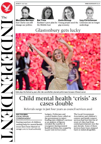 The Independent Newspaper Front Page (UK) for 1 July 2019