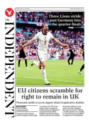 The Independent () Newspaper Front Page for 1 July 2021