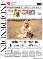 The Independent (UK) Newspaper Front Page for 1 August 2015