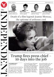 The Independent (UK) Newspaper Front Page for 1 August 2017