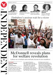 The Independent (UK) Newspaper Front Page for 1 August 2018