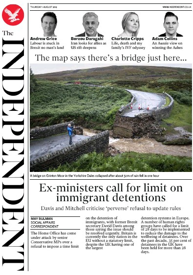 The Independent Newspaper Front Page (UK) for 1 August 2019