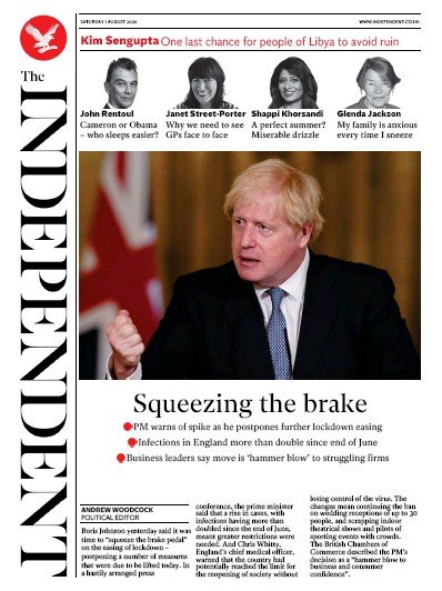 The Independent Newspaper Front Page (UK) for 1 August 2020